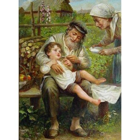 Elena Flerova - Grandparents | Jewish Art Oil Painting Gallery