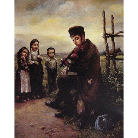 Elena Flerova - The Violinist | Jewish Art Oil Painting Gallery
