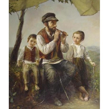 Elena Flerova - Under the Tree | Jewish Art Oil Painting Gallery