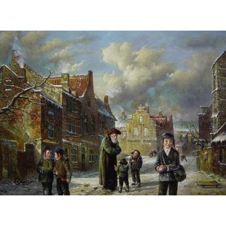 Elena Flerova - Winter   Jewish Art Oil Painting Gallery