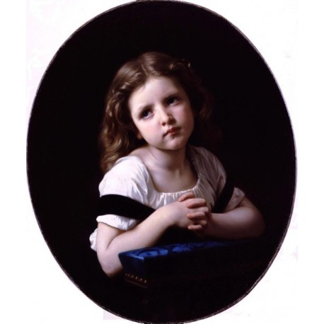 The Prayer 1865 by William Adolphe Bouguereau - Art gallery oil painting reproductions