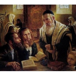 Elena Flerova - The Debate II | Jewish Art Oil Painting Gallery