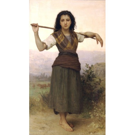 The Shepherdess 1889 by William Adolphe Bouguereau - Art gallery oil painting reproductions