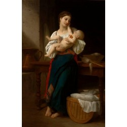 Premieres Caresses by William Adolphe Bouguereau - Art gallery oil painting reproductions