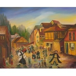 Hachnasat Sefer Torah oil Painting 30x40 inches