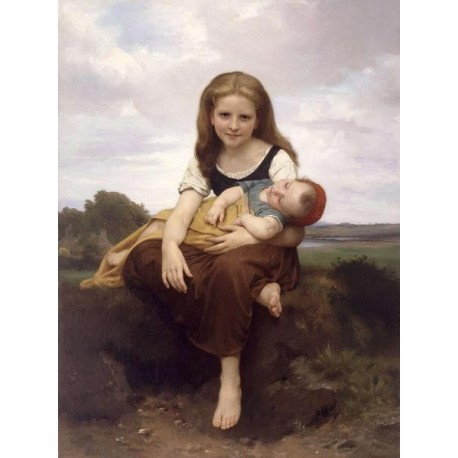 The Elder Sister by William Adolphe Bouguereau - Art gallery oil painting reproductions