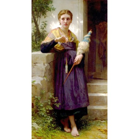The Spinner by William Adolphe Bouguereau - Art gallery oil painting reproductions