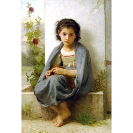 The Little Knitter by William Adolphe Bouguereau - Art gallery oil painting reproductions