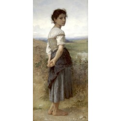 The Young Shepherdess 1885 by William Adolphe Bouguereau - Art gallery oil painting reproductions