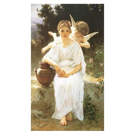 Whisperings of Love 1889 by William Adolphe Bouguereau - Art gallery oil painting reproductions