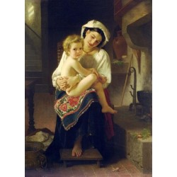 Young Mother Gazing at Her Child by William Adolphe Bouguereau - Art gallery oil painting reproductions