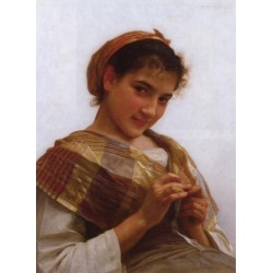 Young Girl Crocheting 1889 by William Adolphe Bouguereau -Art gallery oil painting reproductions
