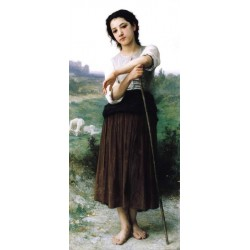 Young Shepherdess Standing 1887 by William Adolphe Bouguereau - Art gallery oil painting reproductions