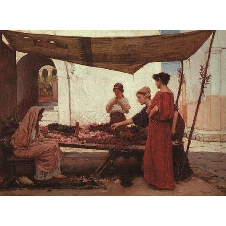 A Grecian Flower Market 1880 by John William Waterhouse - Art gallery oil painting reproductions