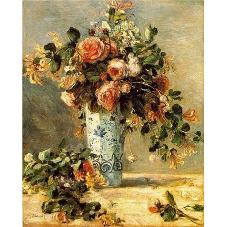 Roses and Jasmine in a Delft Vase by Pierre Auguste Renoir