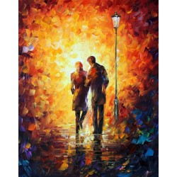 Romantic Walk Home Decor Abstract Oil Painting