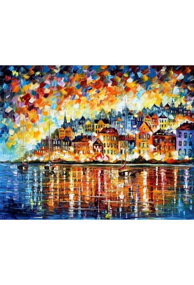 A Night At The Bay Home Decor Abstract Oil Painting
