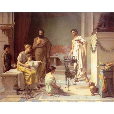 A Sick Child brought into the Temple of Aesculapius 1877 by John William Waterhouse - Art gallery oil painting reproductions