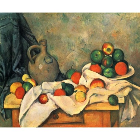 Jug, Curtain and Fruit Bowl by Paul Cezanne- oil painting