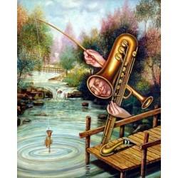 Israel Rubinstein - Fishing II | Jewish Art Oil Painting