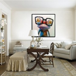 Happy Frog - Hand-Painted Modern Home decor wall art oil Painting