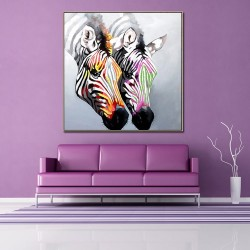 Zebra Couple - Handmade Abstract Art Modern Oil Painting