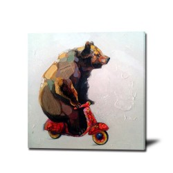 Abstract Bear - Hand-Painted Animal Wall Art Modern Oil Painting
