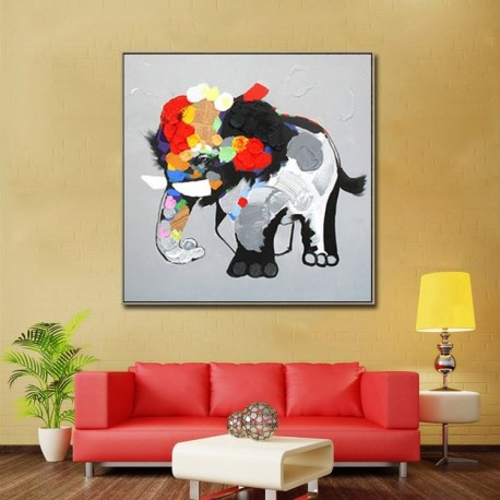 Abstract Elephant - Hand-Painted Animal Wall Art Modern Oil Painting