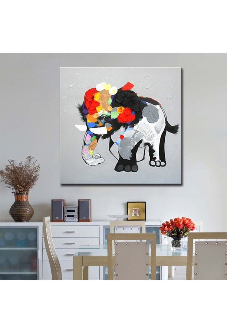 Abstract Elephant Hand Painted Animal Wall Art Modern Oil