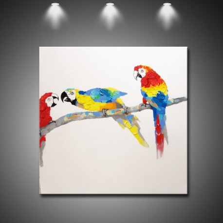 Best Friends-Parrots Handmade Canvas Art Modern Oil Painting