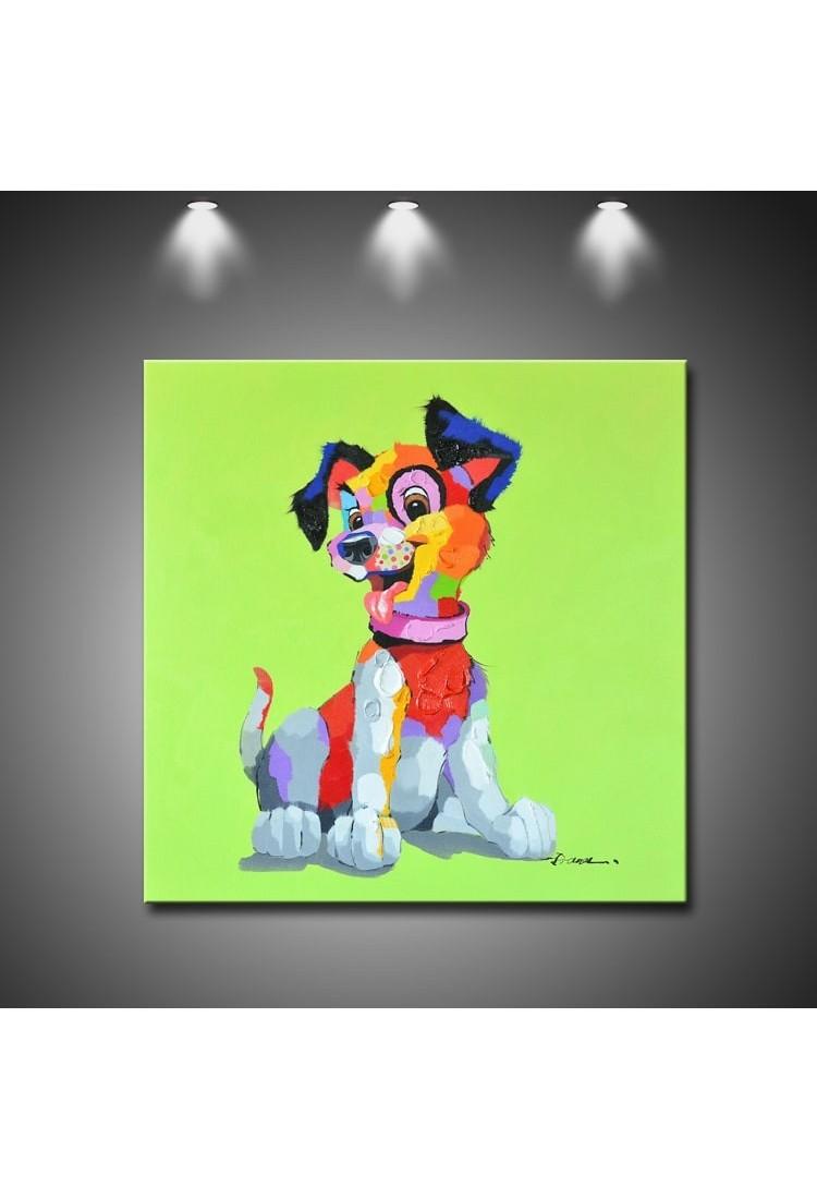 Color Puppy Dog Handmade Animal Wall Art Modern Oil Painting
