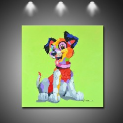 Color Puppy Dog - Handmade Animal Wall Art Modern Oil Painting
