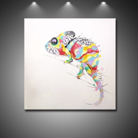 Colorful Chameleon Handmade Abstract Art Modern Oil Painting