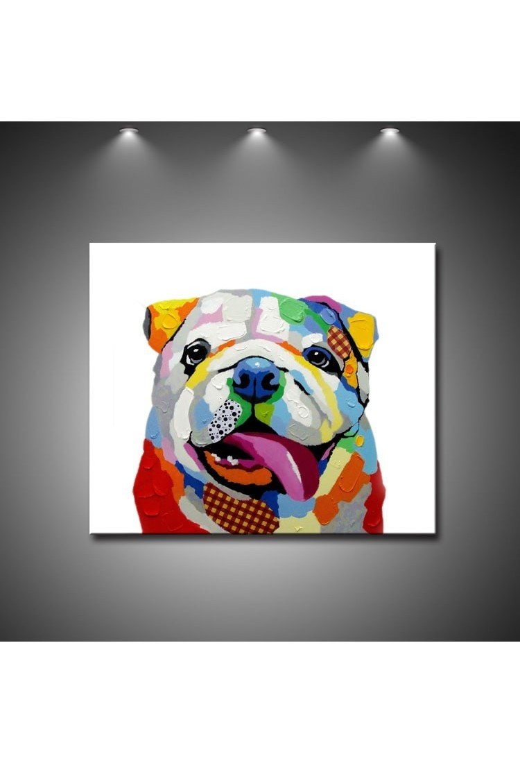 Colorful Dog Hand Painted Animal Wall Art Modern Oil