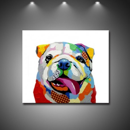 Colorful Dog - Hand-Painted Animal Wall Art Modern Oil Painting