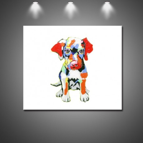 Colorful Puppy- Handmade Animal Canvas Art Modern Oil Painting