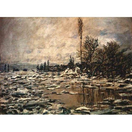 Break up of Ice Lavacourt by Claude Oscar Monet - Art gallery oil painting reproductions