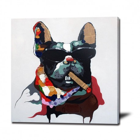 Cool Dog Handmade Modern Abstract Oil Painting
