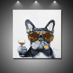 Cool Drinking Dog - Handmade Animal Canvas Art Modern Painting