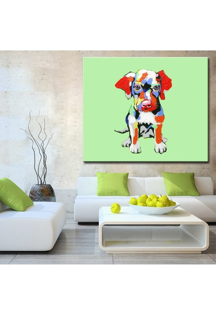 Cute Abstract Dog Hand Painted Modern Home Decor Wall Art Painting