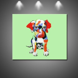 Cute Abstract Dog - Hand-Painted Modern Home decor Wall Art Painting