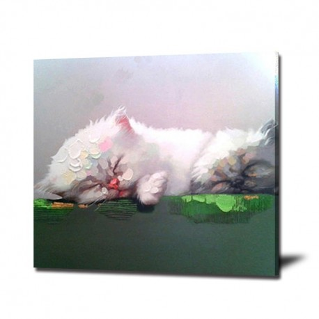 Cute Cat - Hand-Painted Animal Wall Art Modern Oil Painting