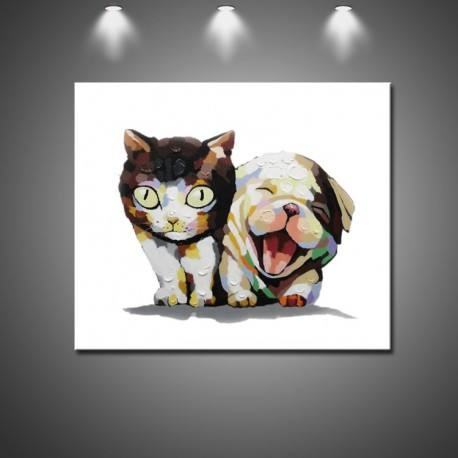 Cute Friends - Handmade Animal Canvas Art Modern Oil Painting
