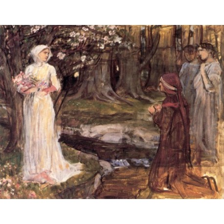 Dante and Beatrice 1915 by John William Waterhouse-Art gallery oil painting reproductions
