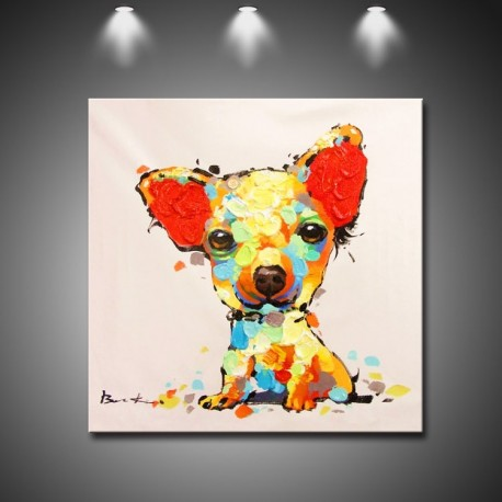 Cute Little Dog - Hand-Painted Modern Home decor wall art oil Painting