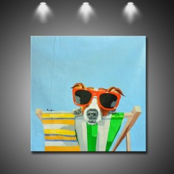 Dog in the Sun - Handmade Animal Canvas Art Modern Painting