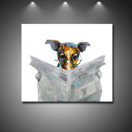 Reading Dog - Hand-Painted Modern Home decor Wall Art oil Painting