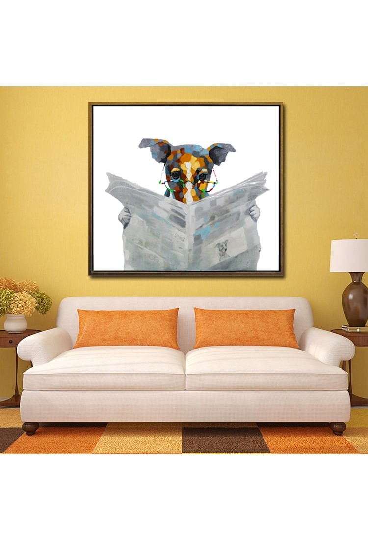 Reading dog hand painted modern home decor wall art oil - Painting designs for walls in your home ...