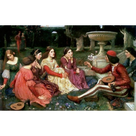 Decameron 1916 by John William Waterhouse-Art gallery oil painting reproductions