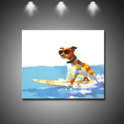 Surfing Dog 2 - Hand-Painted Animal Wall Art Modern Oil Painting